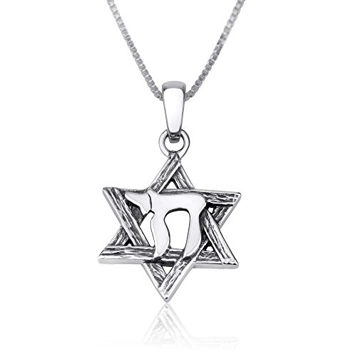 Marina Jewellery Genuine 925 Sterling Silver Chain Necklace, Chai Star of David Pendant Charm, 18 Inch Box Chain (Jewish Chai Pendant)