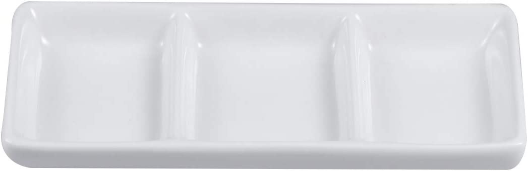 BESTONZON White Ceramic 3 Compartment Appetizer Serving Tray Rectangular Divided Sauce Dishes