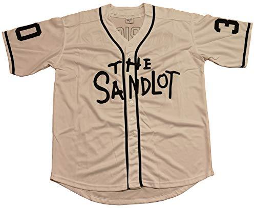 Kooy Benny The Jet Rodriguez #30 The Sandlot Movie Baseball Jersey Christmas Summer (White, X-Large) -