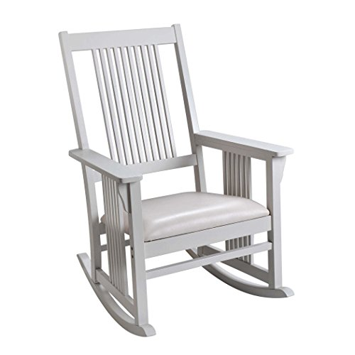 Giftmark Mission Style Rocking Chair with Upholstered Seat, Style A, White by GiftMark