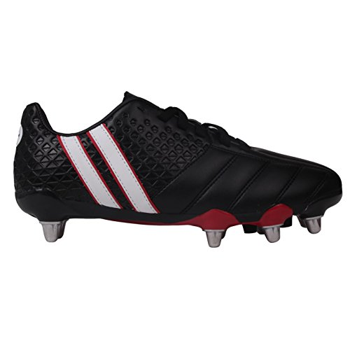 Patrick Mens Power X Rugby Boots Lace up Padded Heel Ankle Collar Shoes Footwear Black/White UK 12 (46) ()