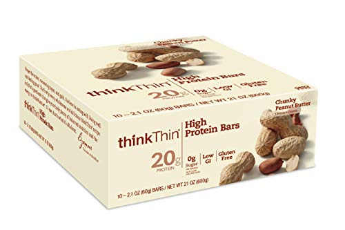 thinkThin High Protein Bars, Chunky Peanut Butter, 2.1 oz Bar (10 Count) -