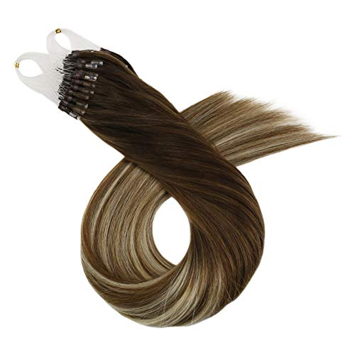 Ugeat 18inch Micro Loop Extensions Human Hair Balayage Dark Brown Ombre to Medium Brown Mixed with Bleach Blonde 100g/100Strand Silky Straight Remy Loop Ring Hair Extensions