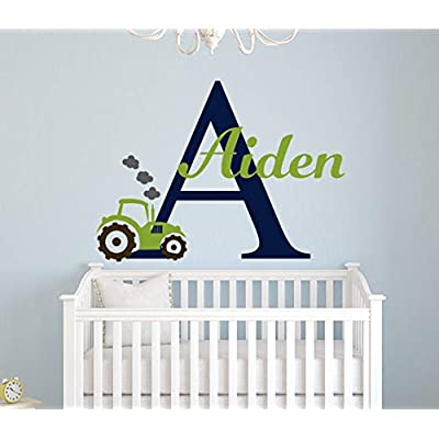 "Name Tractor Wall Decal - Boys Room Wall Decal - Custom Name Wall Decal - Tractor Decal - Nursery Wall Decal - Kids Boys Name Decal (22""W x 16""H): Baby"