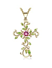 14K Gold Plated Angelady God We Trust Cross Pendant Necklace Jewelry Gift for Women,Crystal from Swarovski