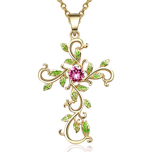 Green Crystal Cross Necklace - Angelady God We Trust Cross Pendant Necklace for Women Gifts,14K Gold Plated Chain Necklace, Pink Crystal from Swarovski