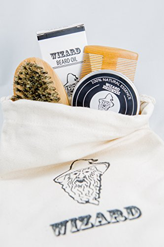 Beard Grooming Care Kit - Natural Beard Wax, Natural Beard Oil, Boar Bristle Beard Brush, & Static Free Sandalwood Beard Comb - Bundled Beard Management Set For Men By Wizard Beard
