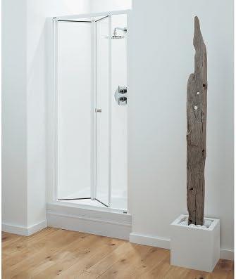Optima Bi Fold Shower Door 700mm White Clear Amazon Co Uk Kitchen Home