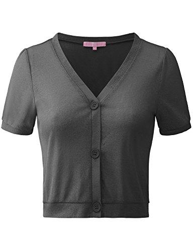 Puffed Sleeve Cardigan - Regna X Womens Black Versatile Open Front Lightweight Short Sleeve bolero shrug