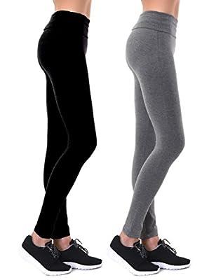 Unique Styles Ladies Fold Waistband Yoga Leggings Active Yoga Pants Tummy Control