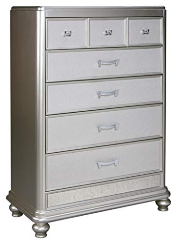(Ashley Furniture Signature Design - Coralayne Chest of Drawers - Glamorous Hollywood-Inspired Dresser - Metallic Silver Finish)