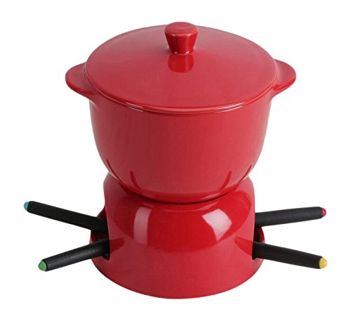 Omniware 1037725 Chocolate Fondue with Lid, Red