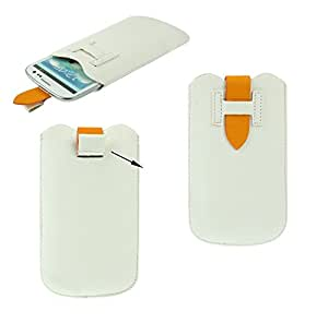 DFV mobile - Cover premium synthetic leather with loop extraction and security closure for > xiaocai x9, color blanco
