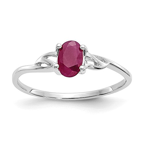14k White Gold Red Ruby Birthstone Band Ring Size 7.00 Stone July Oval Fine Jewelry Gifts For Women For Her