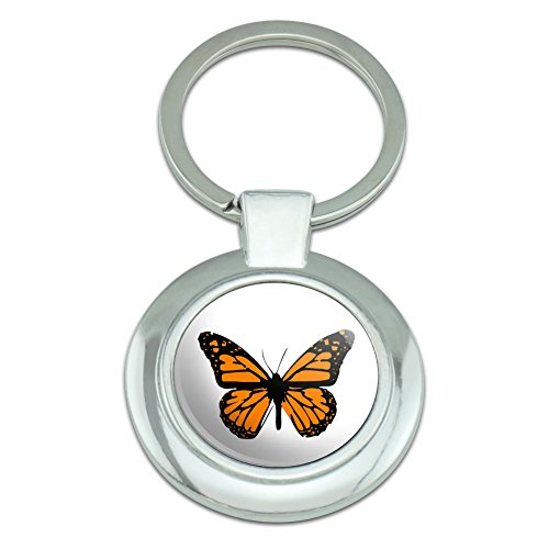 Graphics and More Monarch Butterfly Classy Round Chrome Plated Metal Keychain