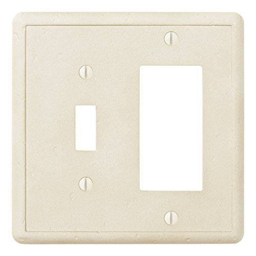 (Questech Ivory Decorative Wall Plate/Switch Plate/Outlet Cover (Single Toggle/Single Decorator GFCI Combination))