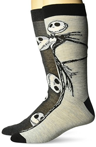 Disney Men's Nightmare Before Christmas 2 Pack Crew Socks,Assorted Grey, Fits Sock Size 10-13; Fits Shoe Size 6.5-12.5 -