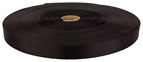 Bulk Nylon Strap (1 1/4 Inch Black Medium Weight Nylon Webbing Closeout, 10 Yards)