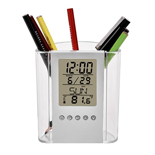 YMCCOOL Desktop Perpetual Calendar Temperature LCD Alarm Clock Pen Holder for Home Office