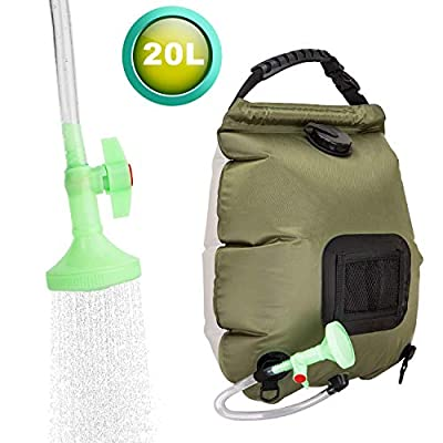 FeChiX(Upgraded Campimg Shower Bag Solar Shower 5 Gallons/20L Summer Shower Bag with Removable Hose and On-Off Switchable Shower Head Outdoor Shower Bag for Outdoor Camping Traveling Hiking
