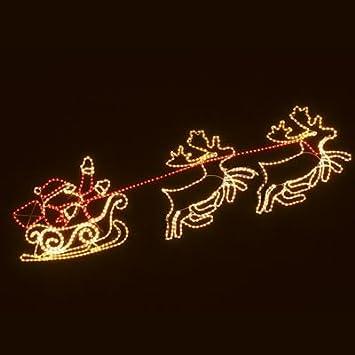 Reindeer and santa sleigh rope light silhouette amazon home reindeer and santa sleigh rope light silhouette aloadofball Gallery