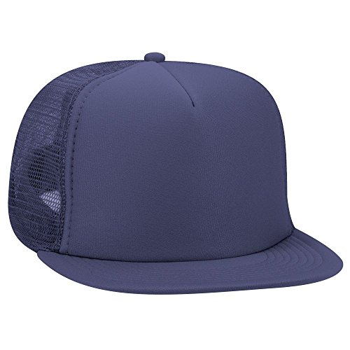 132 Snap - OTTO SNAP Round Flat Visor High Crown Mesh Back 5 Panel Trucker Snapback - Navy