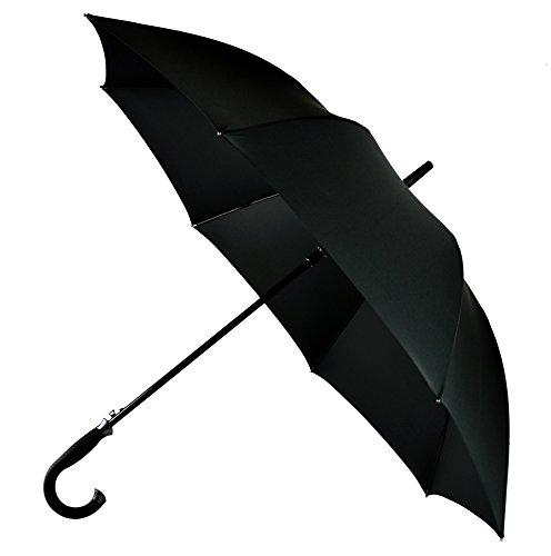 LifeTek Kingston 54 Inch Cane Umbrella Automatic Open Extra Large Full Size Windproof Frame 210T Microfiber Fabric with Teflon Rain Repellant Protection Stick Umbrellas Black