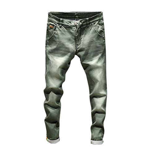 Lavoro Uomo Jeans Elecenty hop Pantaloni Autunno Da Lavati Moda Denim Casual Hip Verde Vintage tqwSvgq
