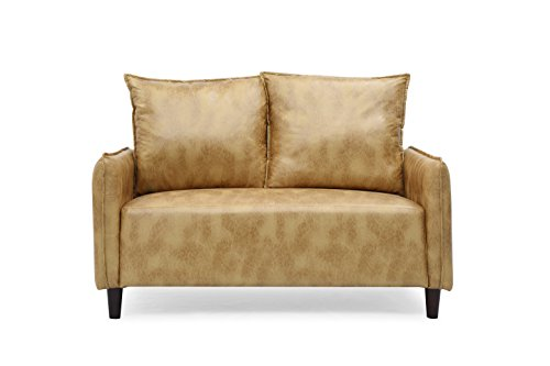 - Container Furniture Direct S5202-L Alice Jordyn Polyester Upholstered Mid-Century Modern Loveseat, Yellow Gold