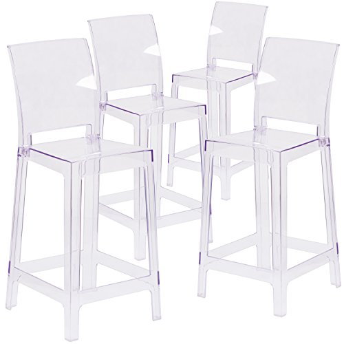 (Flash Furniture 4 Pk. Ghost Counter Stool with Square Back in Transparent Crystal)