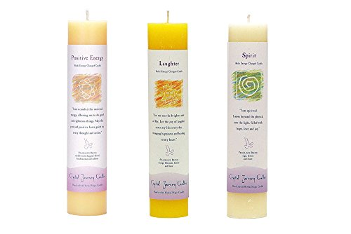 """Crystal Journey Reiki Charged Herbal Magic Pillar Candle with Inspirational Labels - Bundle of 3 (Positive Energy, Laughter, Spirit) Each 7""""x1.5"""" handcrafted with lead-free materials"""