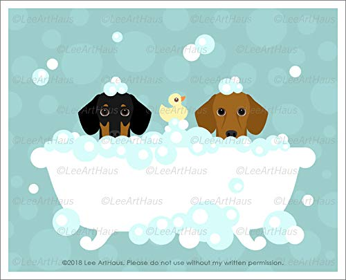 597D Two Dachshund Dogs in Bubble Bath Bathtub UNFRAMED Wall Art Print by Lee ArtHaus