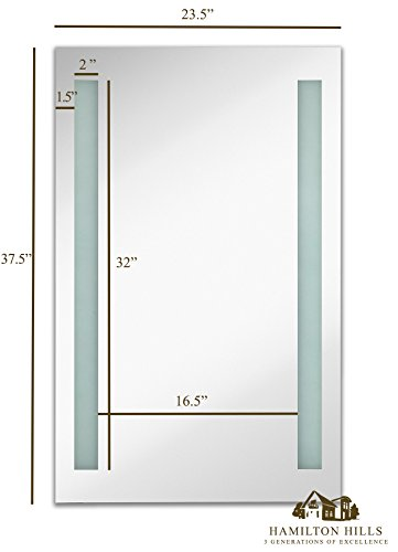 Lighted-LED-Frameless-Backlit-Wall-Mirror-Polished-Edge-Silver-Backed-Illuminated-2-Frosted-Lines-Mirrored-Plate-Commercial-Grade-Vanity-or-Bathroom-Hanging-Rectangle