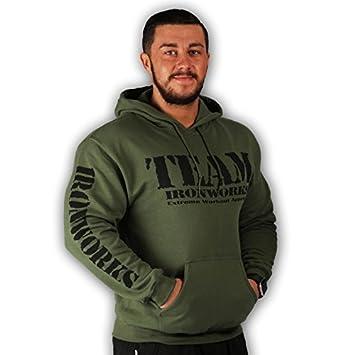 Diseño de para hombre militar Bodybuilding entrenamiento Fitness Top de gimnasio sudadera con capucha en varios colores y tamaños, verde, Medium: Amazon.es: ...