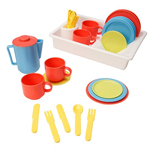 Playkidz: Super Durable 31 Piece Kids Play Dishes Playset Pretend Play House! Super Bowl Toy