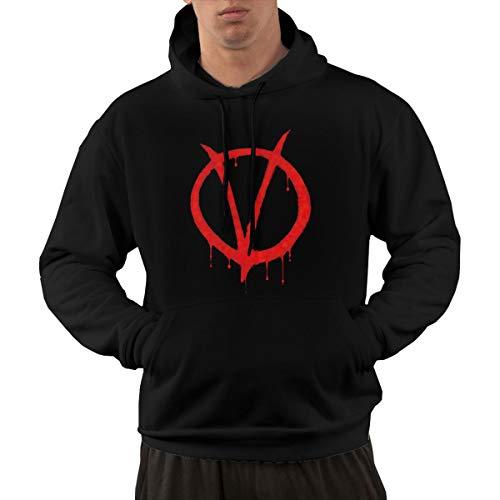 Agreementsly Men's V for Vendetta Comfortable Hooded Sweatshirt Black 3XL
