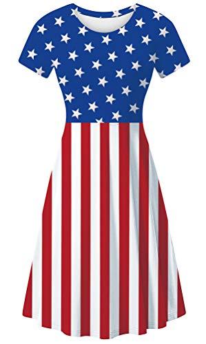 uideazone American Flag Dress Star Stripe Print Dress Women USA Mini Dress Short Sleeve Summer Casual Beach