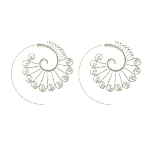 Circular Shape Dangle (Fheaven Fashion Personality Circular Spiral Gear Shape Stud Earrings Dangle Earrings (silver))