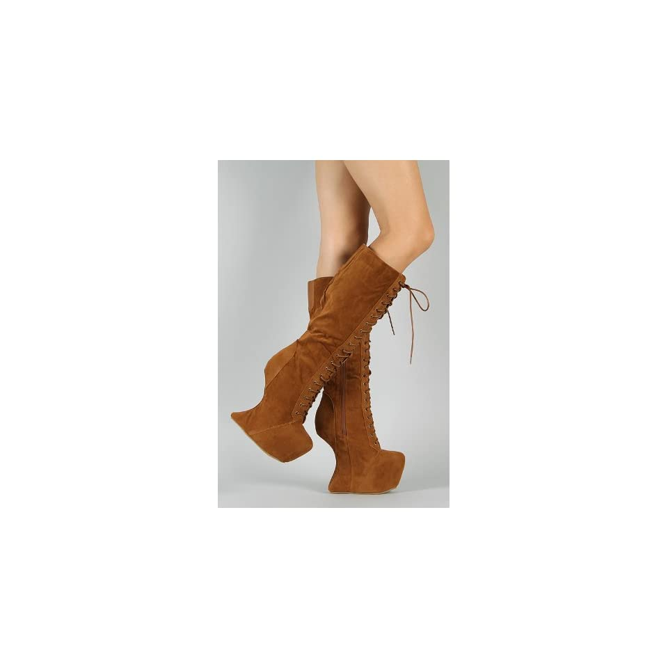 Vintage Goddess 08 Heel Less Laced Knee High Boots TAN ( on all addl items) (7)