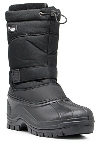 - HRB Men's Winter Heavy Duty Draw String Water Resistant Snow Boots Removable Thermos Lining Rubber Sole Work Shoes (11 D(M) US, Black)