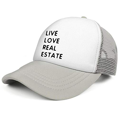 (WENL Live Love Real Estate Unisex Mesh Snapback Hats Relaxed Fit Adjustable Trucker)