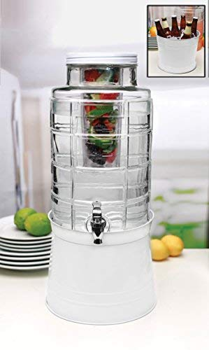 (Circleware 67126 Big Window Glass Beverage Dispenser with Base Metal Stand Transforms Bucket Lid, Fruit Infuser and Ice Insert, Entertainment Kitchen Drinking Glassware, Huge 2.4, White)