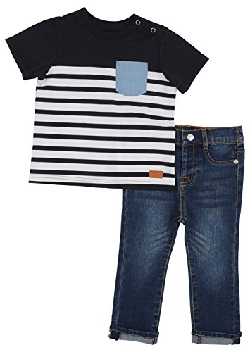 7 For All Mankind Boy's 2 Piece Set Crewneck Pocket T-Shirt 5 Pocket Jeans Deep Well 2T Best Straight Leg Jeans