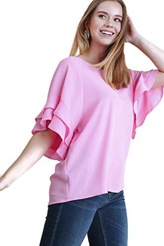 Umgee Women's Layered Ruffle Sleeve Blouse Tunic Top (Medium, Pink)
