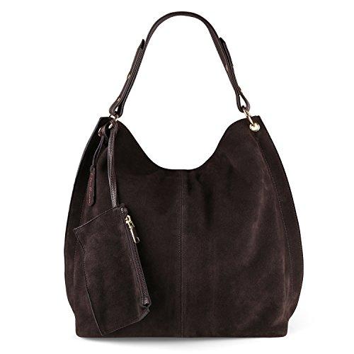 Shoulder Women Suede Genuine Bag Hobo Nico Large Coffee Leather Purse VPJlfoeq1Ue 4naw8qxA