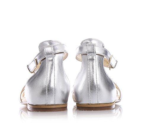 FLORENS - Sandale argent en cuir, avec fermeture avec bracelet et boucle, application de strass sur toute la partie frontale, semelle orthopédique, Fille, Filles, Femme, femmes