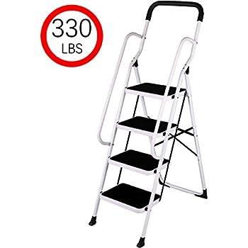 Folding 3 Step Safety Step Ladder Padded Side Handrails
