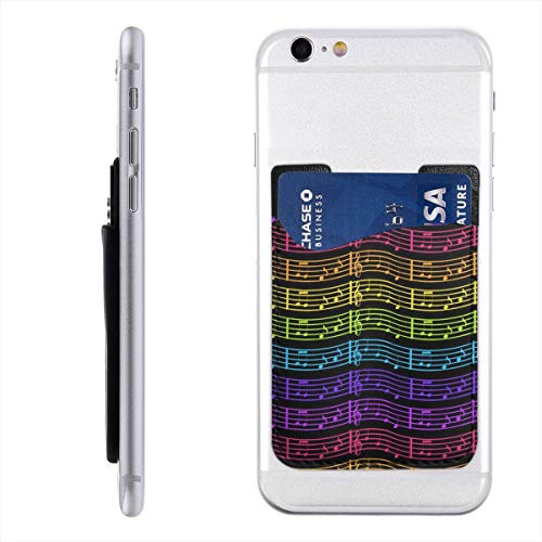(Colorful Rainbow Music Cell Phone Card Holder Case,Stick on Leather Wallet for Back of Phone,3M Adhesive Ultra Slim Phone Pocket ID Credit Card Holder Sleeves Pouch All Smartphones,Cellphone 2.4