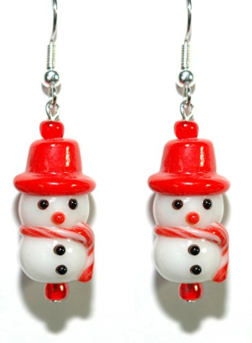 - Cute Glass Christmas Snowman Dangle Earrings (H091)