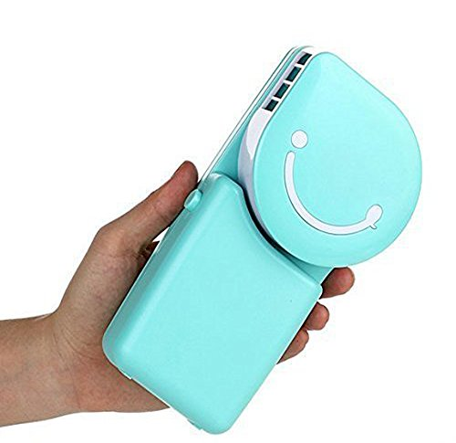 Summer Portable USB Air Conditioner Mini Fan Mute Bladeless Handheld Small Personal Cooling Fan USB/Rechargeable Battery Operated Desktop Cooler Table Fans, Great for Travel Home Office Sports (Green)